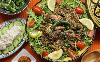 Baharat Chicken with Vegetable Lemon Rice