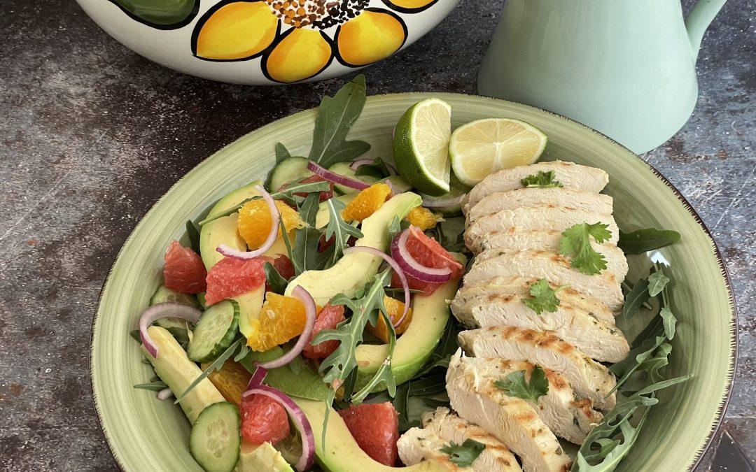 Tequila BBQ Chicken with citrus avocado salad