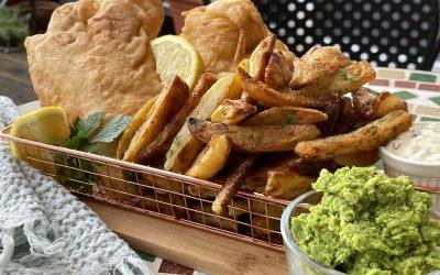 Gluten-Free Fish & Oven-Baked Chips with Mushy Peas & Homemade Tartare Sauce